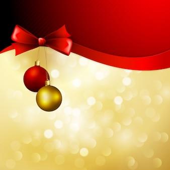 Christmas tła z kokardą i kulki