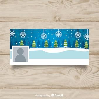 Christmas tree line christmas facebook okładka