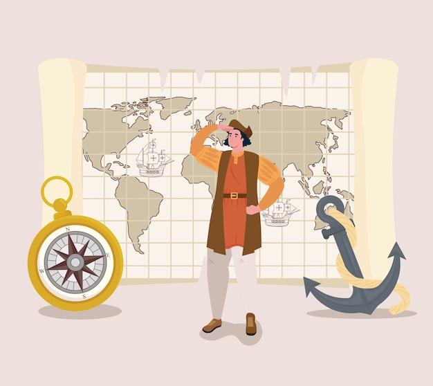 Christopher columbus kreskówka z kompasem i kotwicą przedstawiającą szczęśliwego dnia kolumba w ameryce i motywem odkrywania
