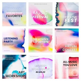 Chromatografia kolorowa muzyka szablon wektor wydarzenie kolekcja reklam w mediach społecznościowych
