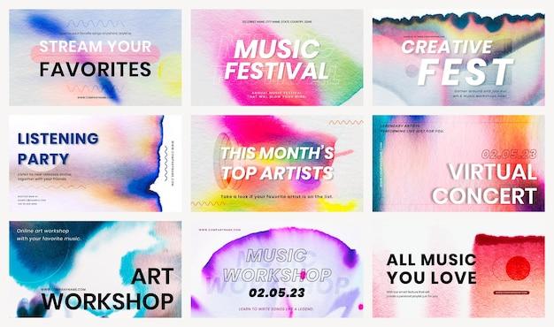 Chromatografia kolorowa muzyka szablon wektor zestaw banerów reklamowych zdarzeń