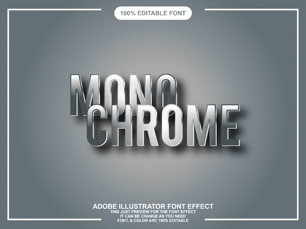 Chromowany graficzny styl edytowalny ilustrator typografii