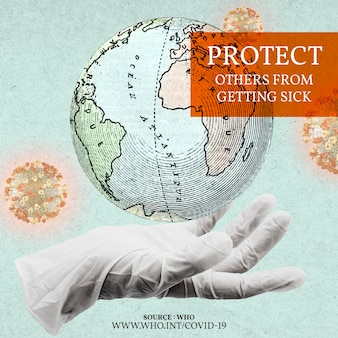 Chroń innych przed uzyskaniem reklamy społecznej z wektorem ilustracji wirusa covid-19