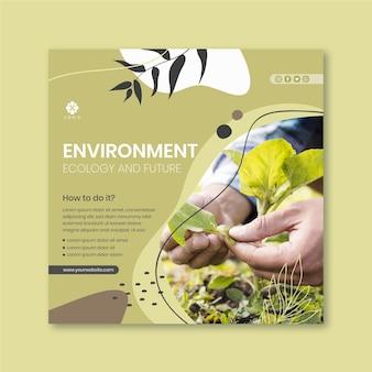Chroń środowiskowy kwadratowy szablon ulotki