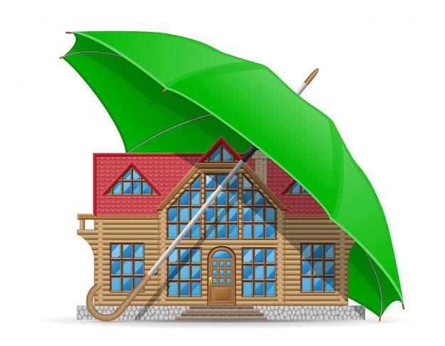 Chroniony i ubezpieczony parasol zakwaterowania w domu