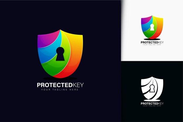 Chroniony projekt logo klucza z gradientem