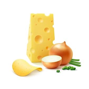 Chrupiące chipsy ziemniaczane z serem i cebulą z bliska na białym tle
