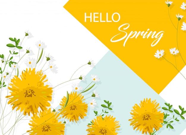 Chryzantema żółte kwiaty z białym rumiankiem. witam wiosenny pomysł