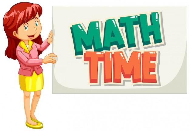 Chrzcielnica dla słowa matematyki czasu z nauczycielem trzyma znaka