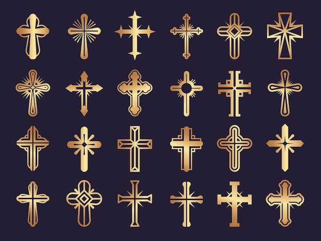 Chrześcijanie krzyżują się. symbole religii jezus katolicyzm plemienny autentyczny zestaw ikon.