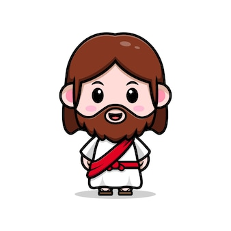 Chrześcijańska ilustracja kreskówka wektor ładny jezusa chrystusa