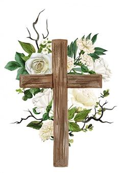 Chrześcijański drewniany krzyż ozdobiony białymi różami i liśćmi