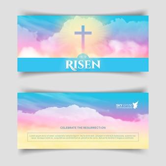 Chrześcijański projekt religijny. wąskie poziome banery.