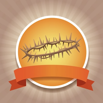 Chrześcijaństwo okrągłe ikony ze wstążką