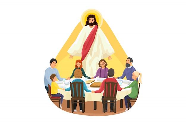 Chrześcijaństwo, religia, posiłek, ochrona, modlitwa, kult, koncepcja. jezus chrystus syn boży patrzy na młodą rodzinę ojca syna córki matki na kolację lub śniadanie, modląc się. boskie wsparcie lub opieka.