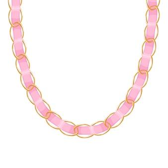 Chunky łańcuszek złoty metaliczny naszyjnik lub bransoletka z niebieską wstążką. osobisty dodatek modowy.