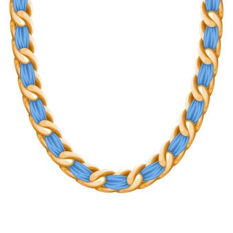 Chunky łańcuszek złoty metaliczny naszyjnik lub bransoletka z różową wstążką. osobisty dodatek modowy.