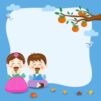 Chuseok, koreański banner festiwalu w połowie jesieni, ilustracja ładny chłopiec