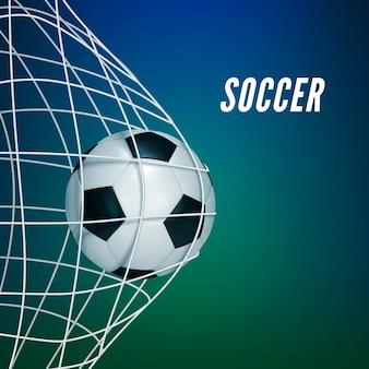 Chwila meczu piłki nożnej z piłką w sieci.