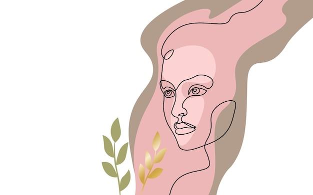 Ciągła koncepcja jednej linii sztuki dziewczyna twarz. piękna kobieta portret moda włosy ręcznie rysowane szkic. piękno szczęśliwy uśmiechający się panienka po stronie głowy czarny biały monochromatyczne wektor ilustracja.