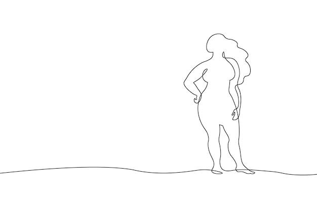 Ciągła koncepcja krzywego dziewczyna jednej linii sztuki. piękna kobieta ciało pozytywny rysunek szkicu. piękno plus rozmiar kształt czarno-biały ilustracja wektorowa monochromatyczne.