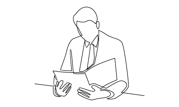 Ciągła linia biznesmen czyta książkę ilustracja