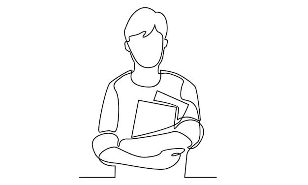 Ciągła linia chłopca trzymającego książki ilustracja