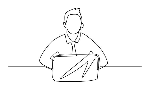 Ciągła linia człowieka pracującego z ilustracją laptopa