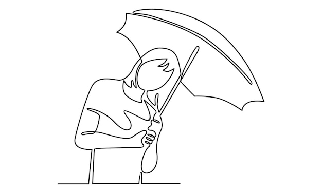Ciągła linia dziewczyny trzymającej ilustrację parasolową