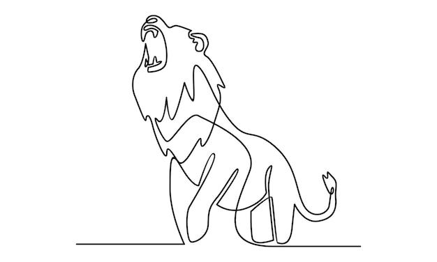 Ciągła linia ilustracji dzikiego lwa