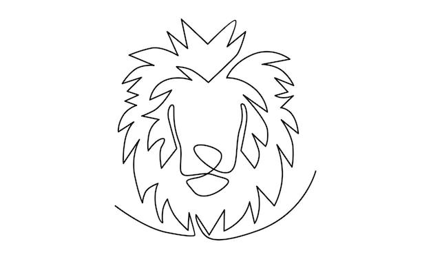 Ciągła linia ilustracji lwa