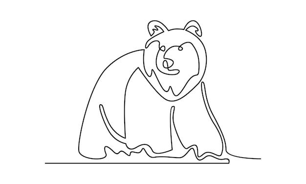 Ciągła linia ilustracji niedźwiedzia