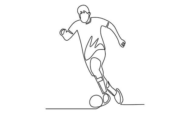 Ciągła linia ilustracji piłkarza