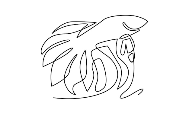 Ciągła linia ilustracji ryb betta