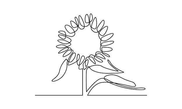 Ciągła linia ilustracji słonecznika