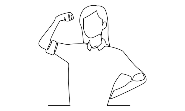 Ciągła linia kobiety pokazuje ilustrację jej bicepsa