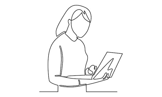 Ciągła linia kobiety pracującej z ilustracją laptopa