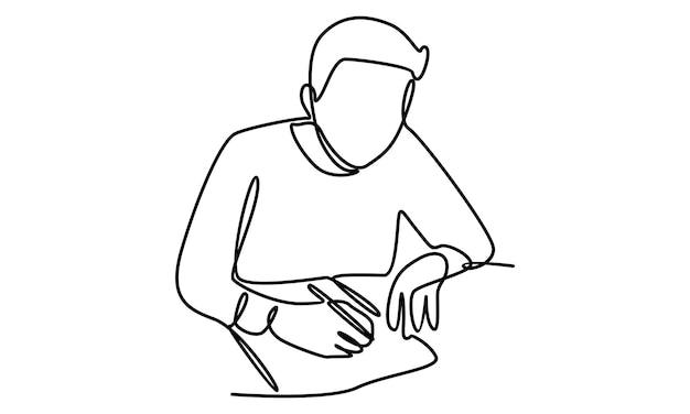 Ciągła linia mężczyzny piszącego notatki na kartce papieru z ilustracją pióra