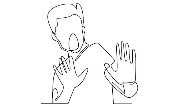 Ciągła linia mężczyzny pokazująca ilustrację gestu odrzucenia