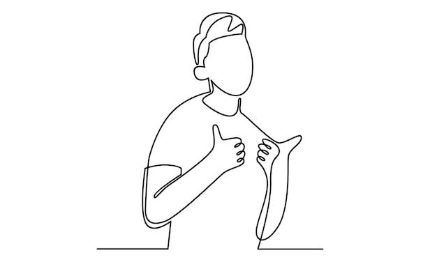 Ciągła linia mężczyzny pokazuje kciuk w górę ilustracji