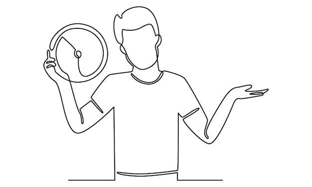 Ciągła linia mężczyzny trzymającego ilustrację zegara
