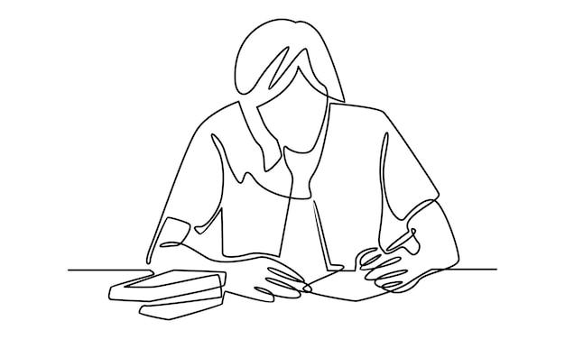 Ciągła linia pisania dziewczyny do ilustracji pracy domowej