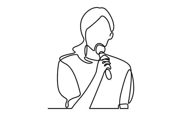 Ciągła linia rozmowy kobiety za pomocą ilustracji mikrofonu