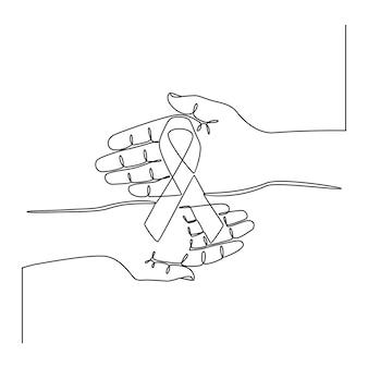 Ciągła linia rysowania ręki trzymająca wstążkę ilustracji wektorowych