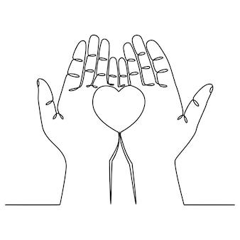 Ciągła linia rysunek ręka dająca symbol miłości wektor