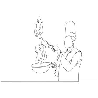 Ciągła linia wektora gotowania szefa kuchni