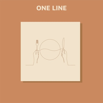 Ciągłe rysowanie jednej linii logo restauracji, widelec i łyżka
