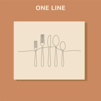 Ciągłe rysowanie jednej linii logo restauracji