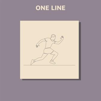 Ciągłe rysowanie linii biegnącego człowieka koncepcja sztuki uciekającego człowieka