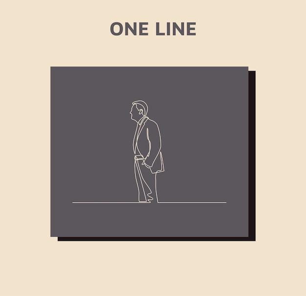 Ciągłe rysowanie linii biznesmen stojących